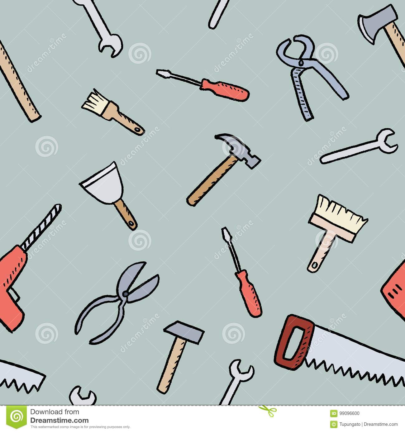 Cartoon tools background stock vector. Image of nail ...