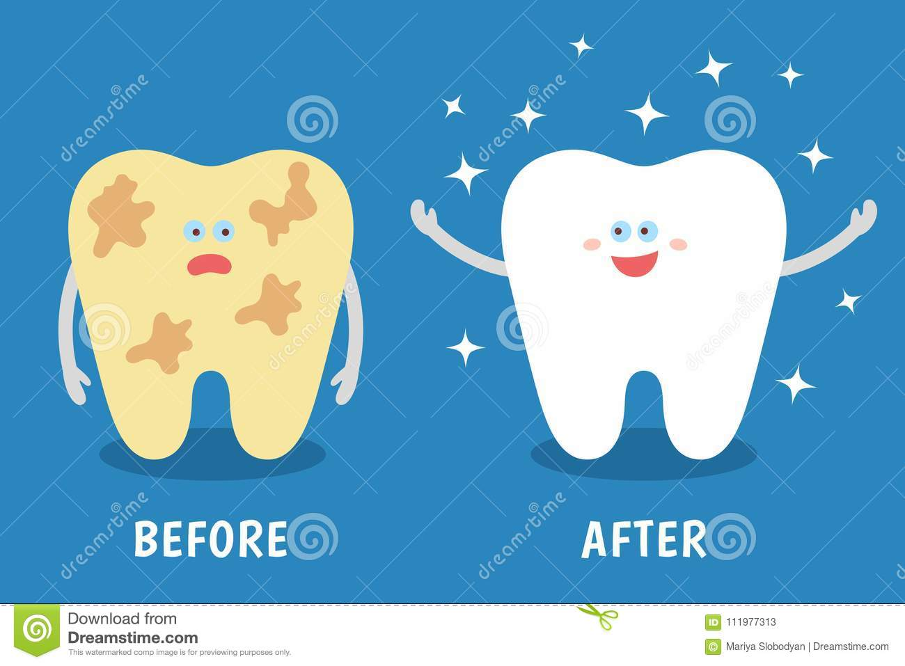 Cartoon tooth before and after cleaning or whitening or dental procedures.