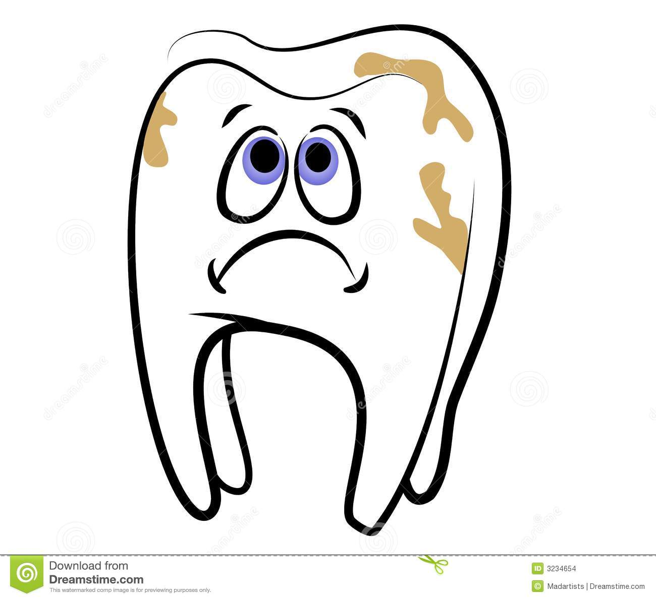 clip art illustration of a cartoonish looking white tooth with a sad ...