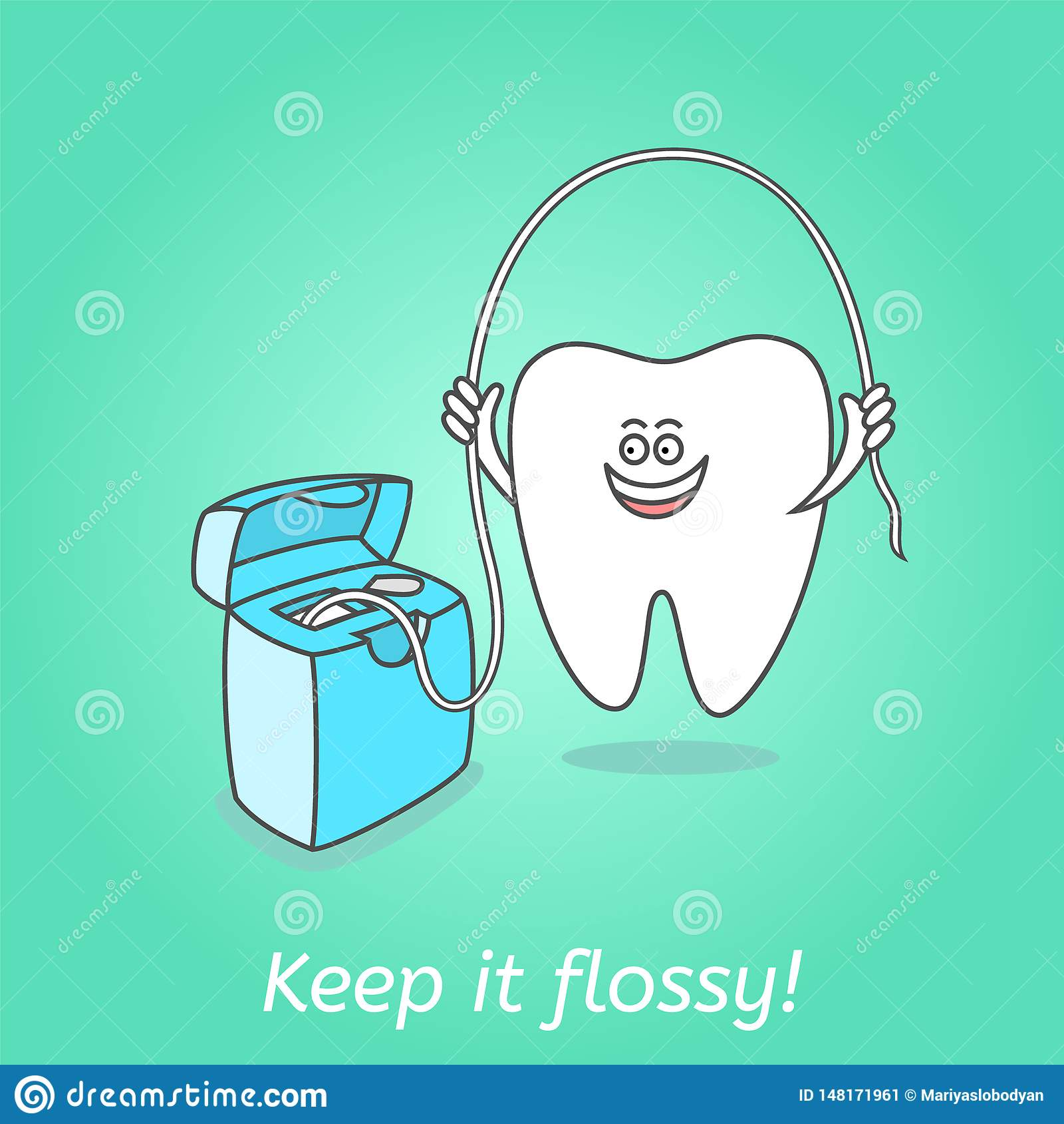 Cartoon tooth with dental floss. Dentistry poster.