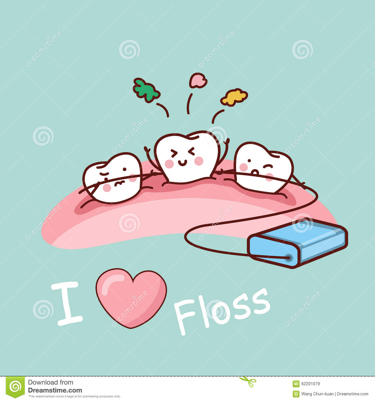 cartoon tooth with dental floss stock vector image 62201079