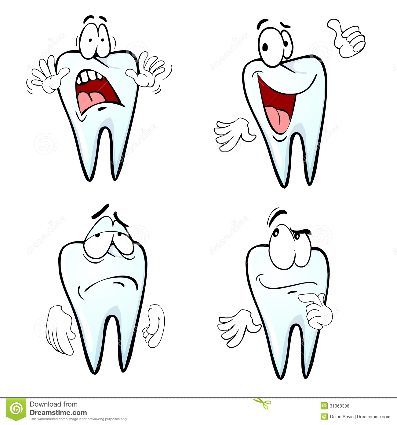1 Toothed Cartoon Characters : Cartoon tooth emotions royalty free stock image