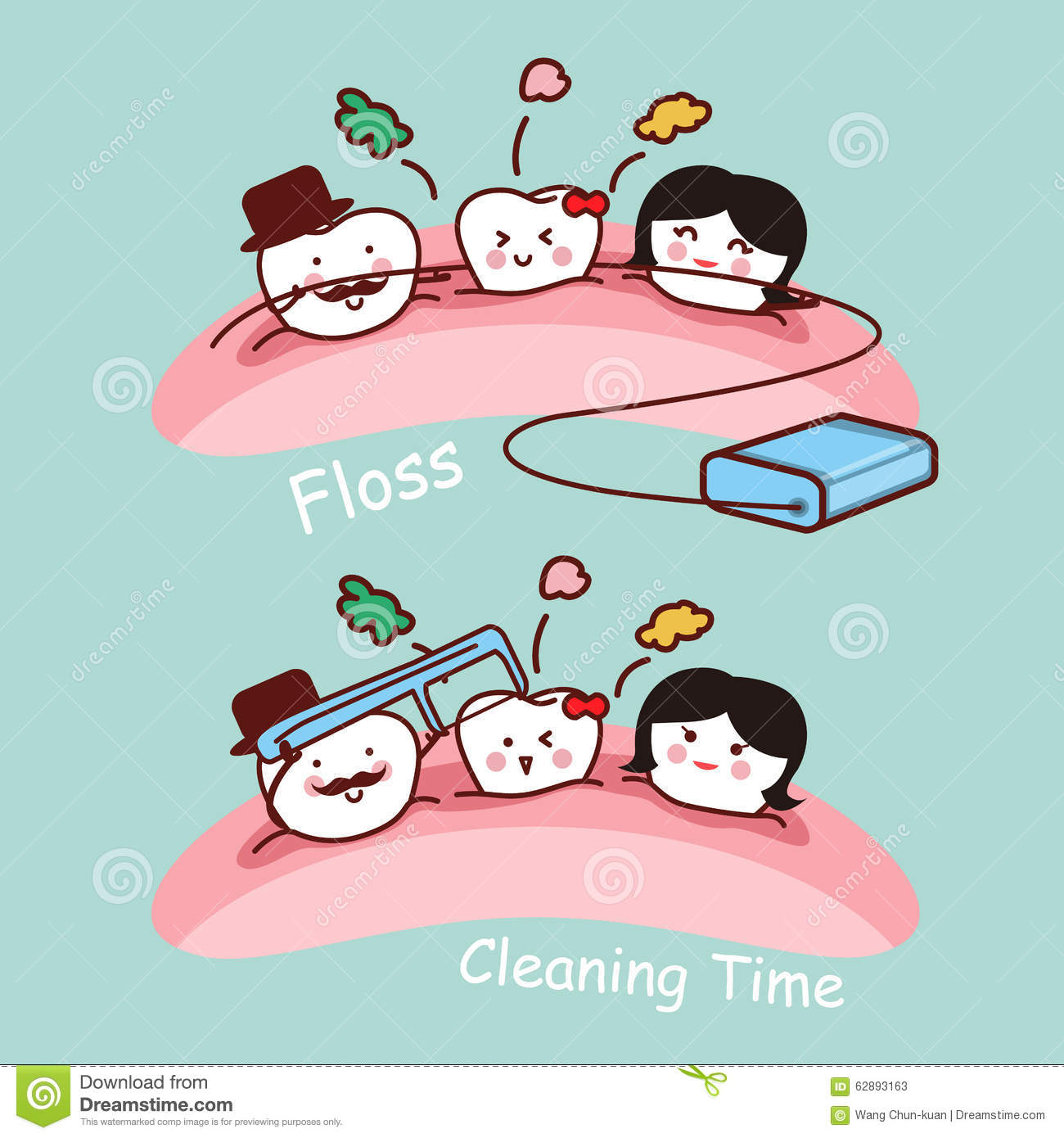 cartoon tooth family with floss stock vector image 62893163