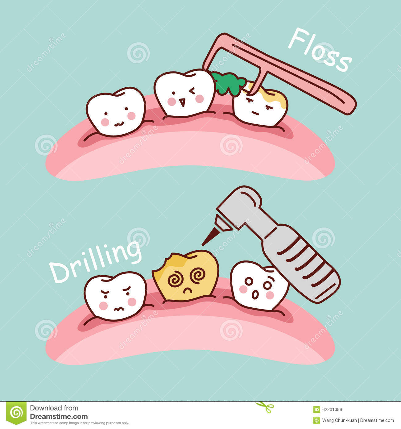 cartoon tooth floss and drilling stock vector image