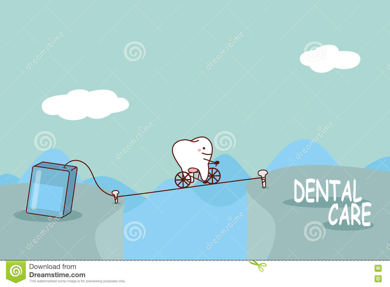 cartoon tooth with floss stock vector image 73247429