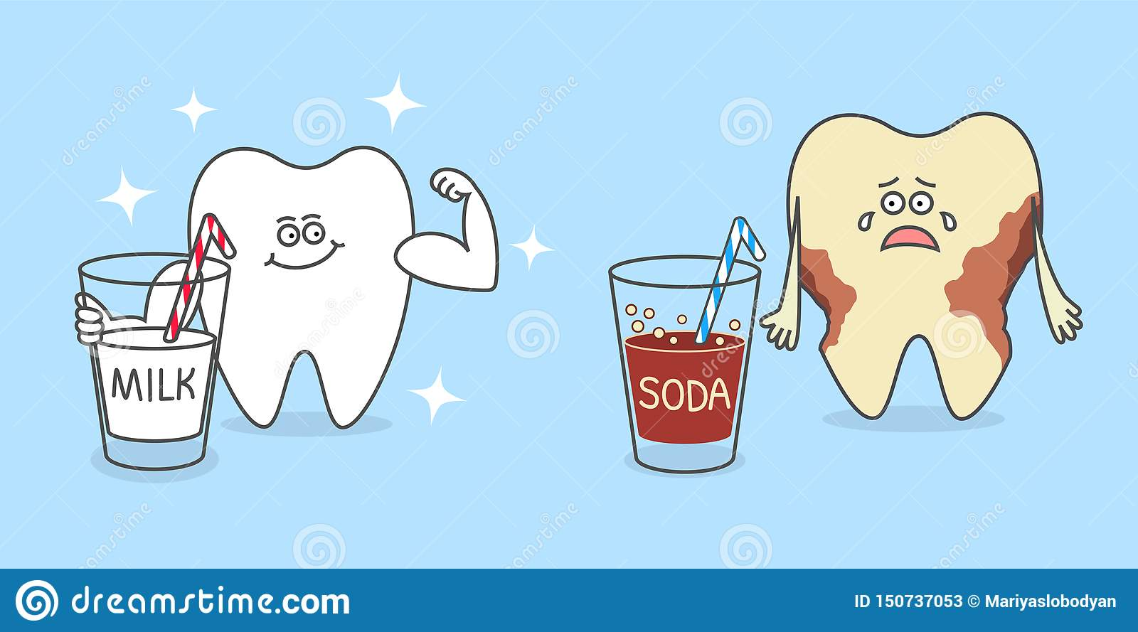 Cartoon tooth with a glass of milk and with a soda