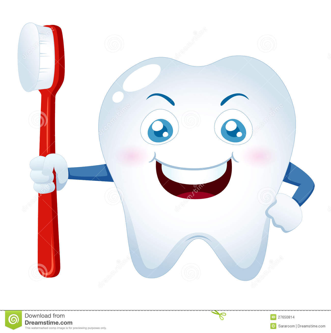 d6397bf2e Cartoon Tooth Holding A Toothbrush Stock Vector - Illustration of ...