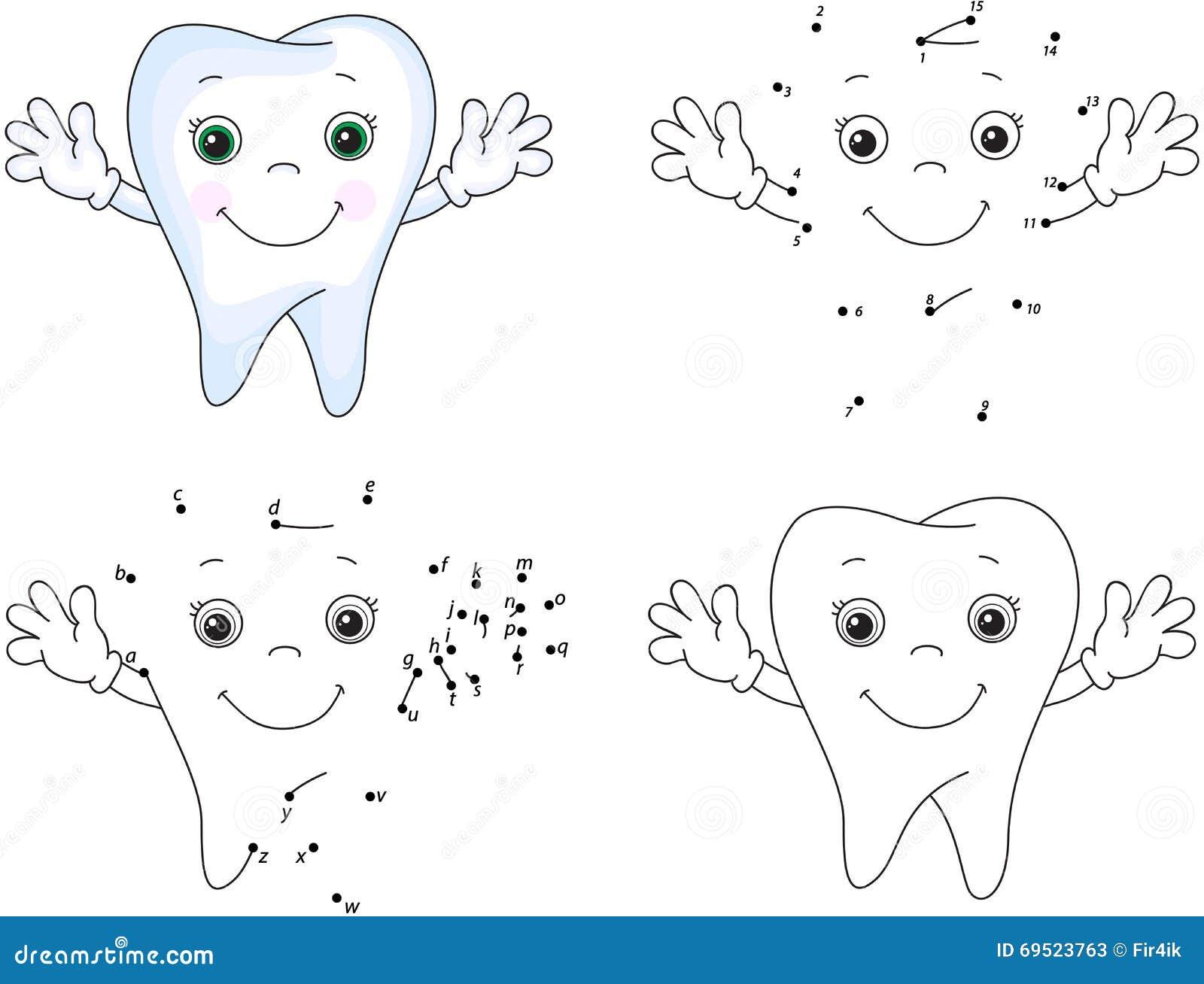 Dibujo Dientes Para Colorear E Imprimir: Cartoon Tooth Smiles. Coloring Book And Dot To Dot Game