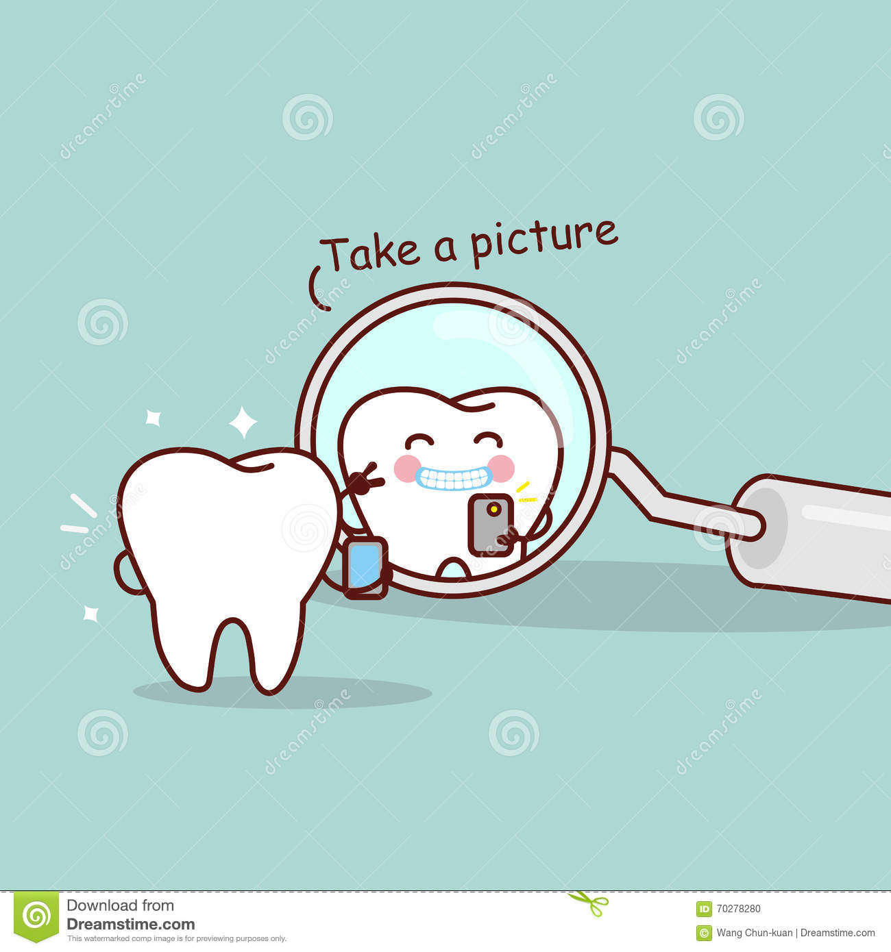 Cartoon Tooth Take A Picture Stock Vector - Image: 70278280