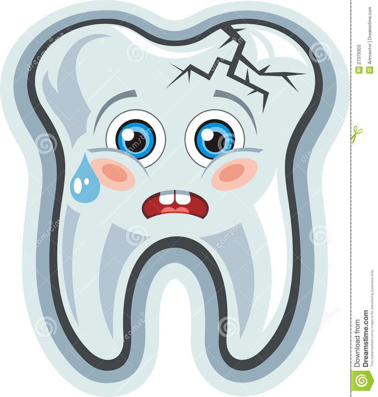 Vector cartoon cute crying tooth toothache