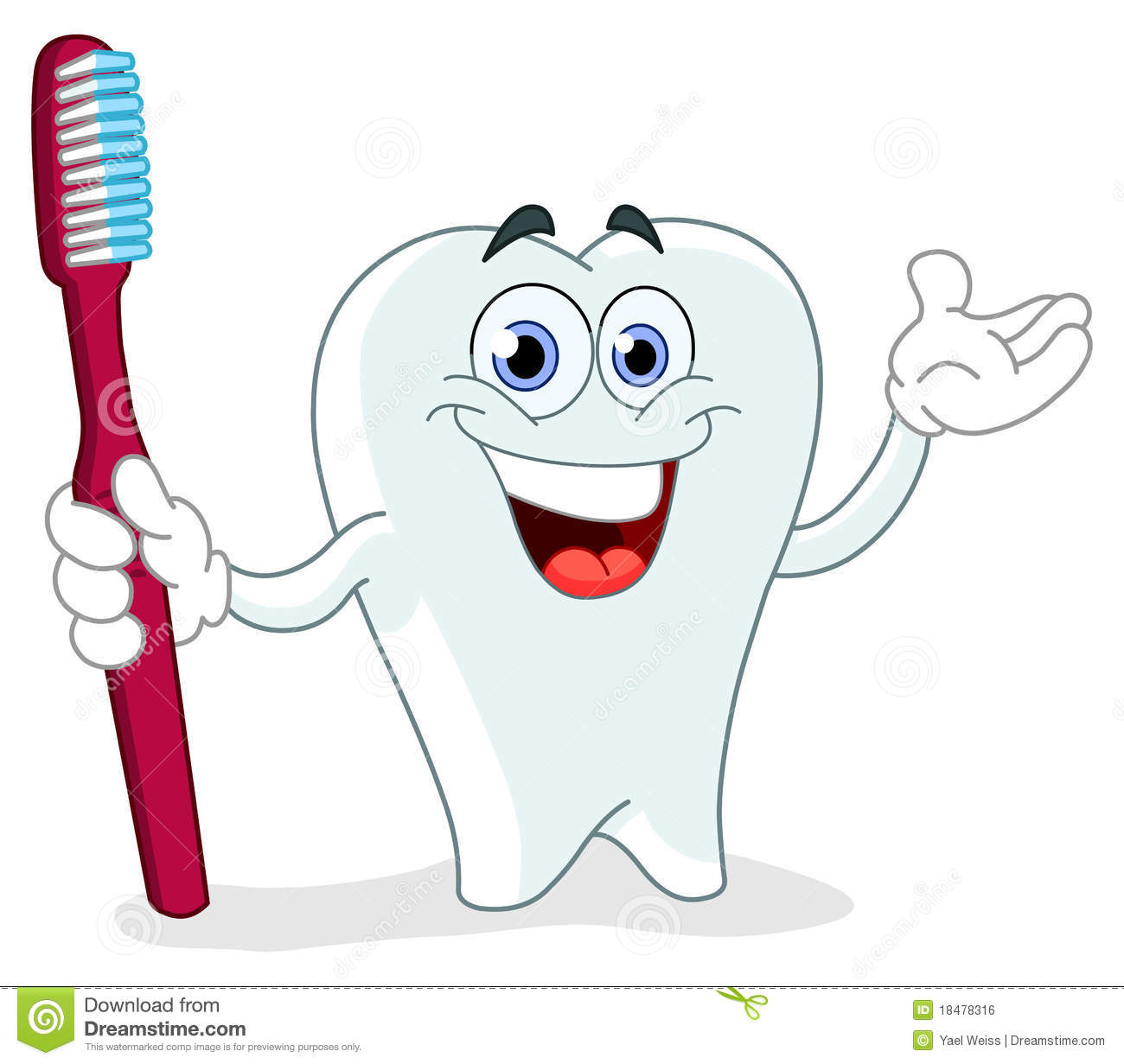 ... Tooth With Toothbrush Royalty Free Stock Image - Image: 18478316