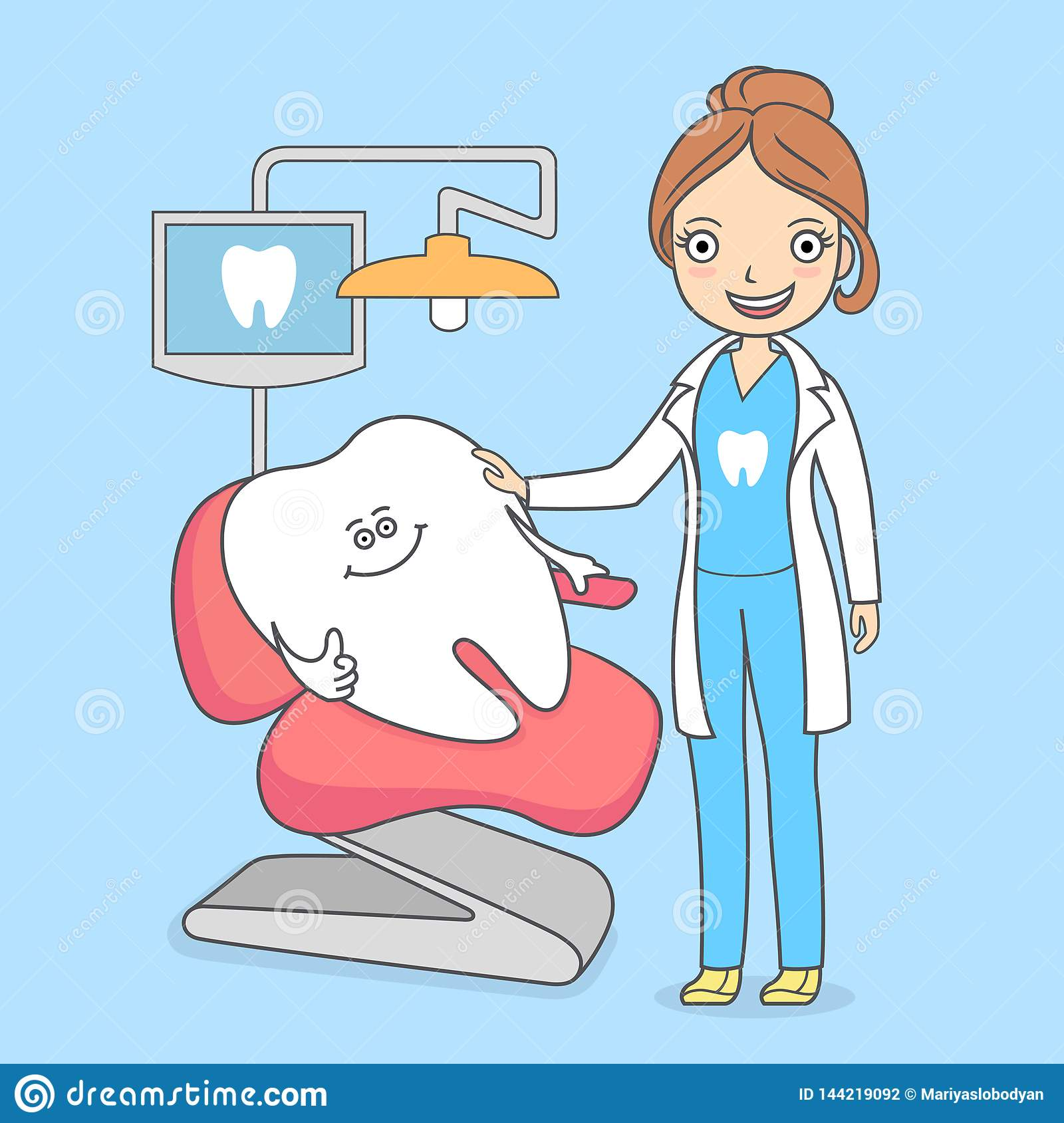 Cartoon Tooth Visiting A Dental Office Tooth Sitting In A Chair And A Dentist Woman Treating Teeth Stock Vector Illustration Of Healthy Cartoon 144219092