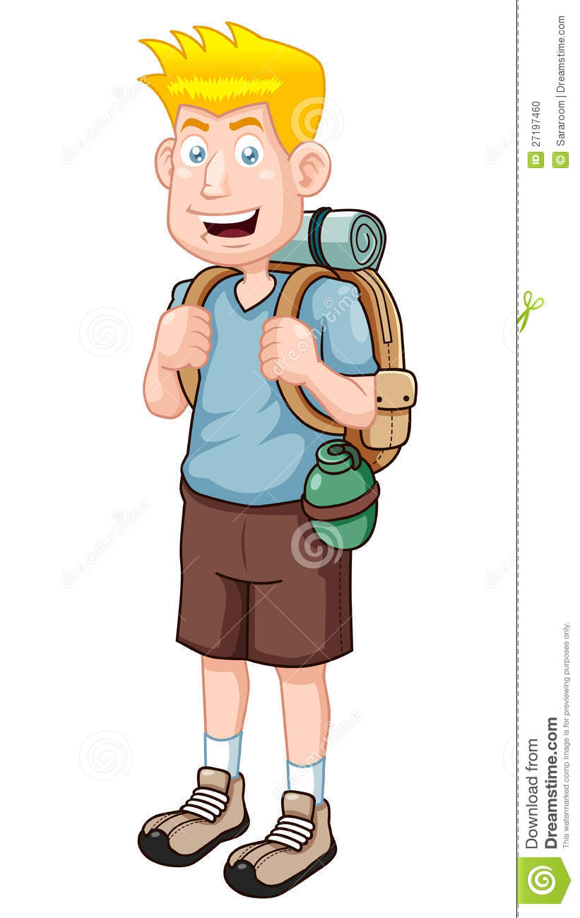 Illustration of Cartoon Tourist.Vector version.