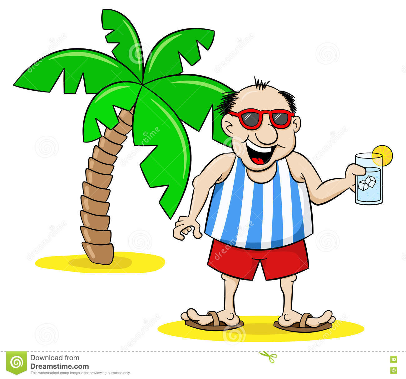 royalty free vector download cartoon tourist with drink on holiday