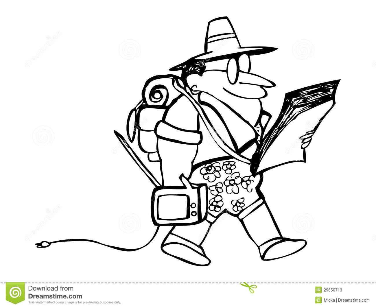 Cartoon Tourist With Own Tv And Map Cartoon Vector ...