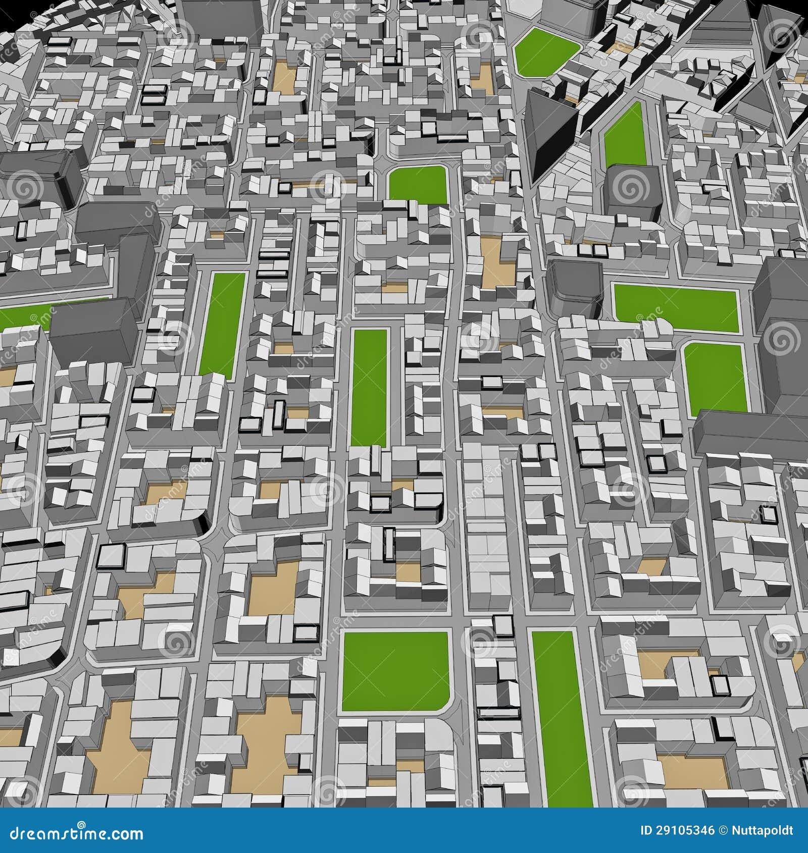 Cartoon town bird eye view urban