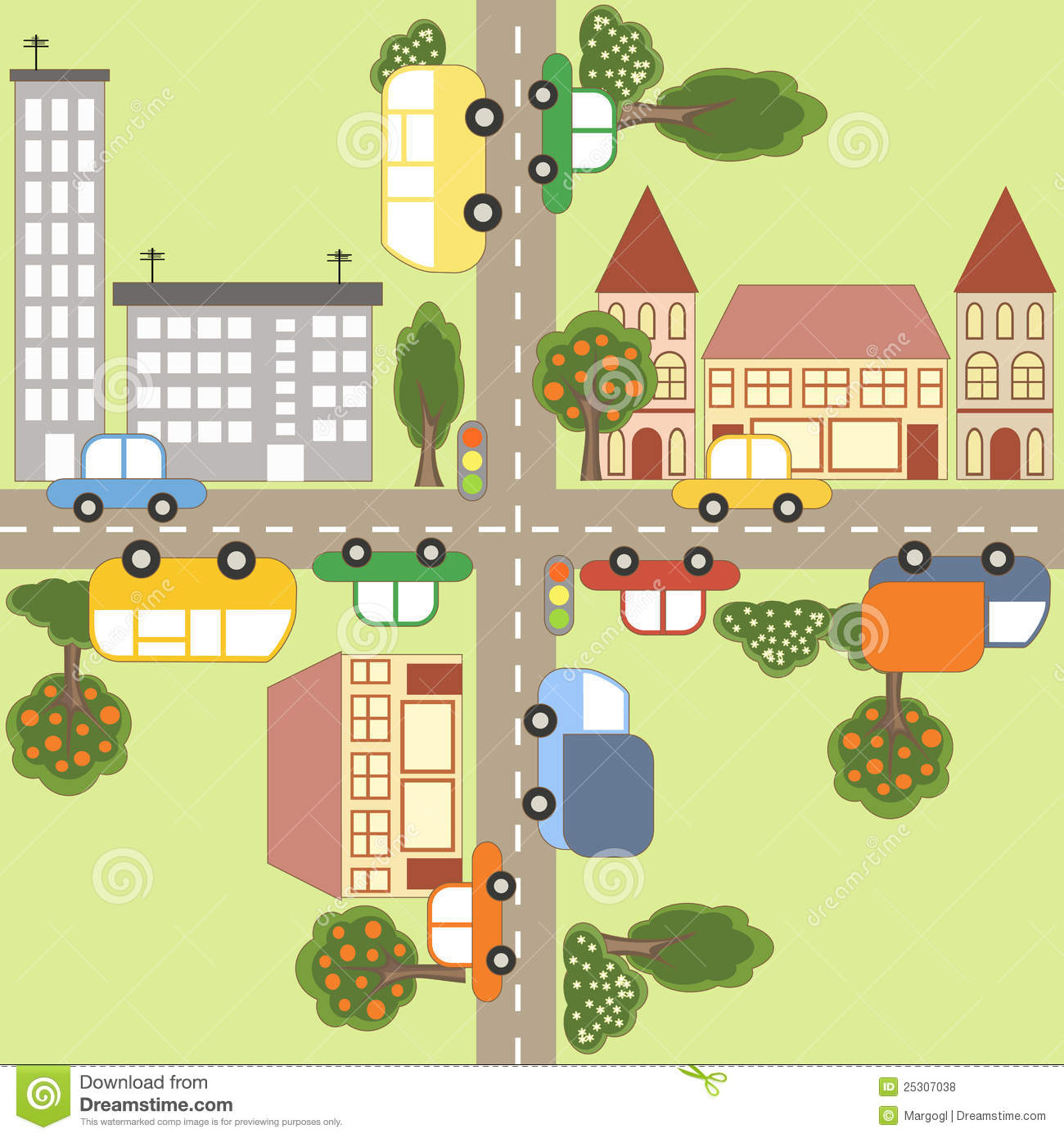 Free Small House Plans Cartoon Town Map Stock Vector Illustration Of City