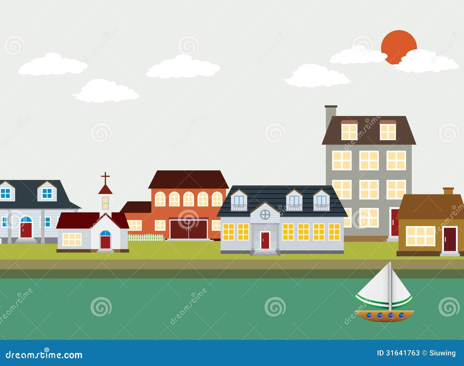 Town Landscape Vector Illustration