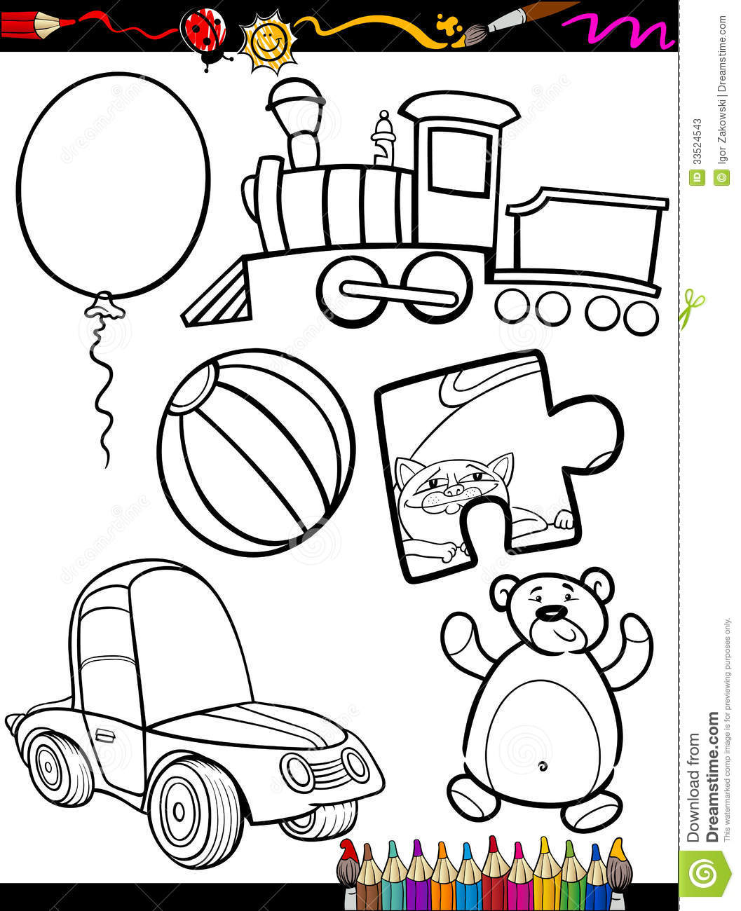 coloring book or page cartoon illustration of black and white toys