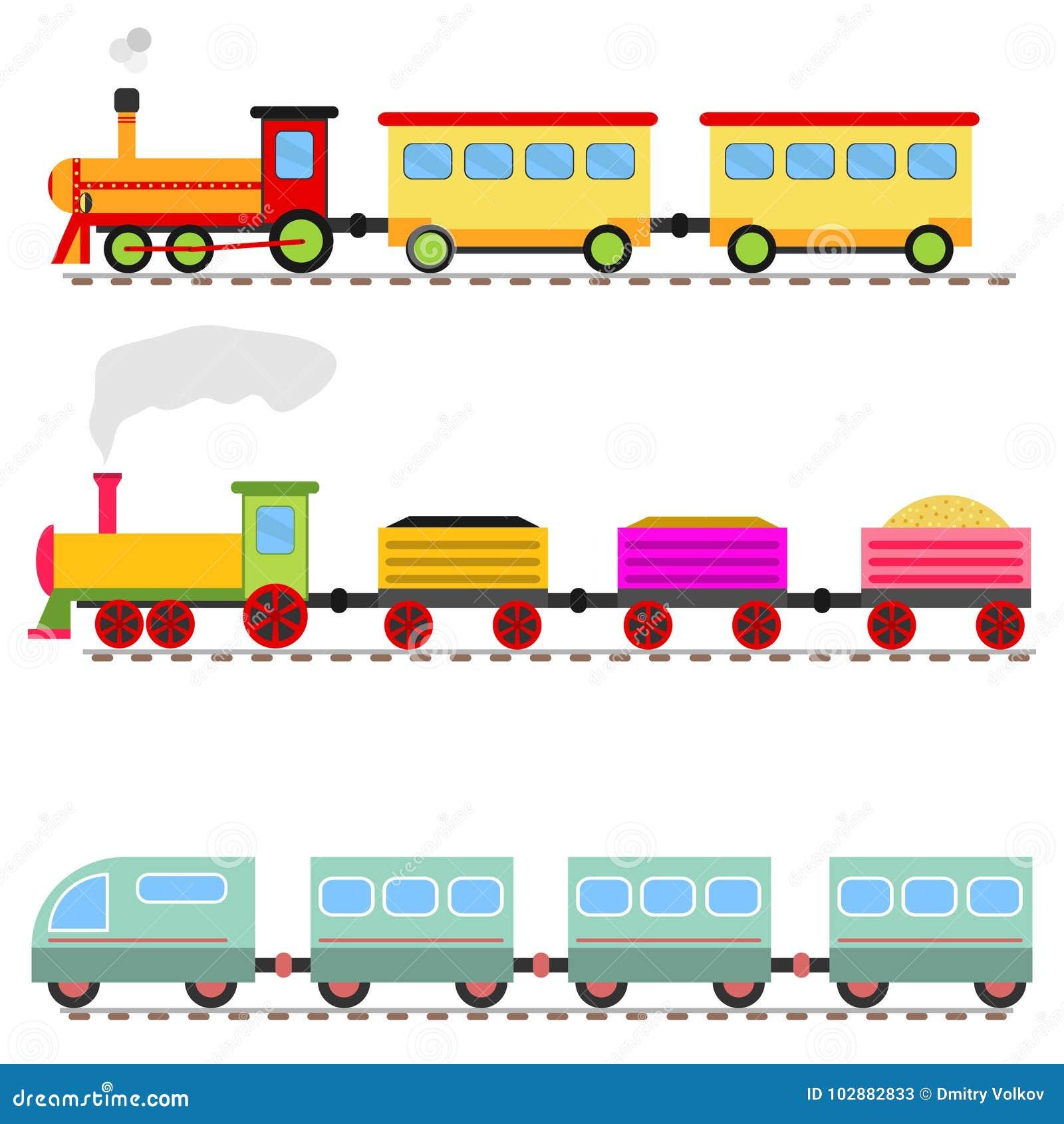 Cartoon train, children`s toy train railway.