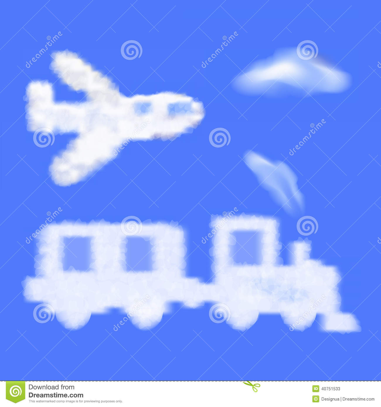 cartoon train and plane shaped cloud in the blue s stock vector