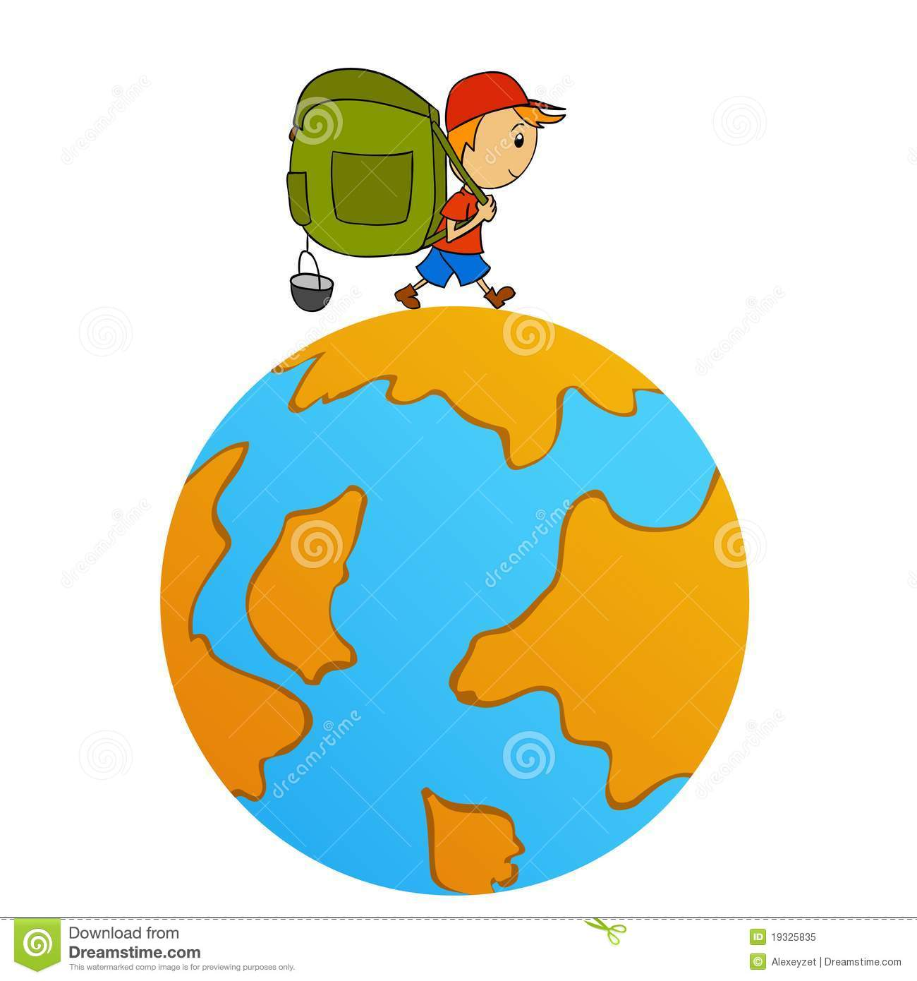 Cartoon travel man with backpack around world royalty free for Autour du monde decoration