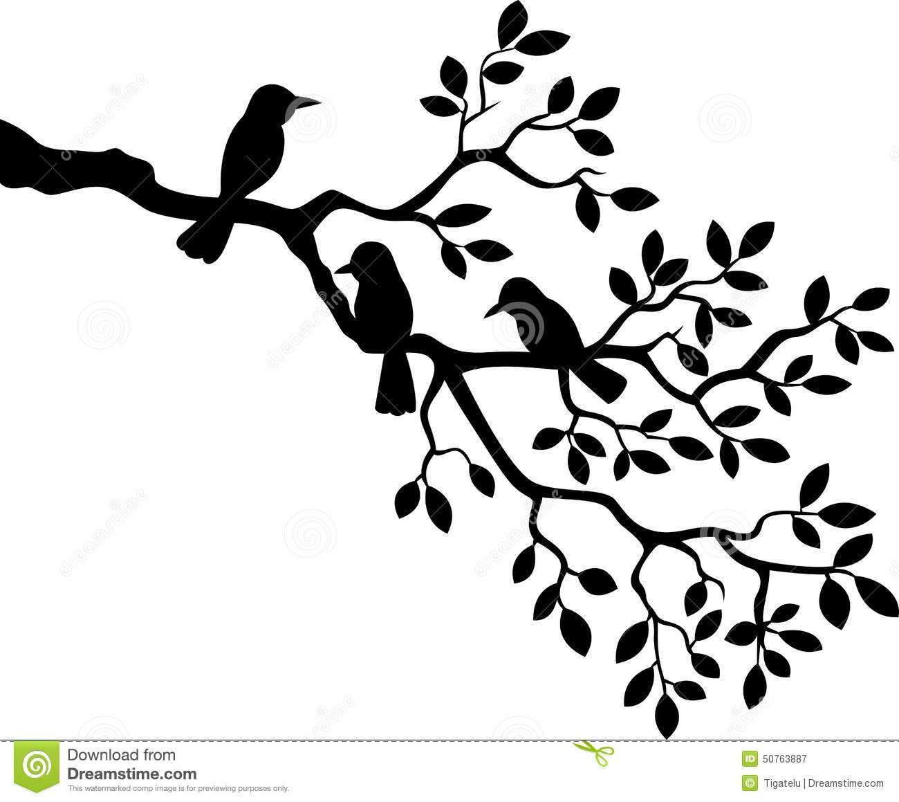 Cartoon Tree Branch With Bird Silhouette Stock Vector ...