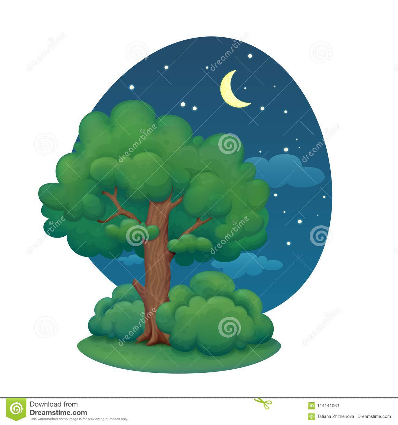 Cartoon Tree With Bushes Summer Night Stock Vector Illustration Of Landscape Outdoor 114141063 Check out our tree bark selection for the very best in unique or custom, handmade pieces from our shops. https www dreamstime com cartoon tree bushes summer night illustration lush green foliage dark blue sky clouds stars crescent moon image114141063