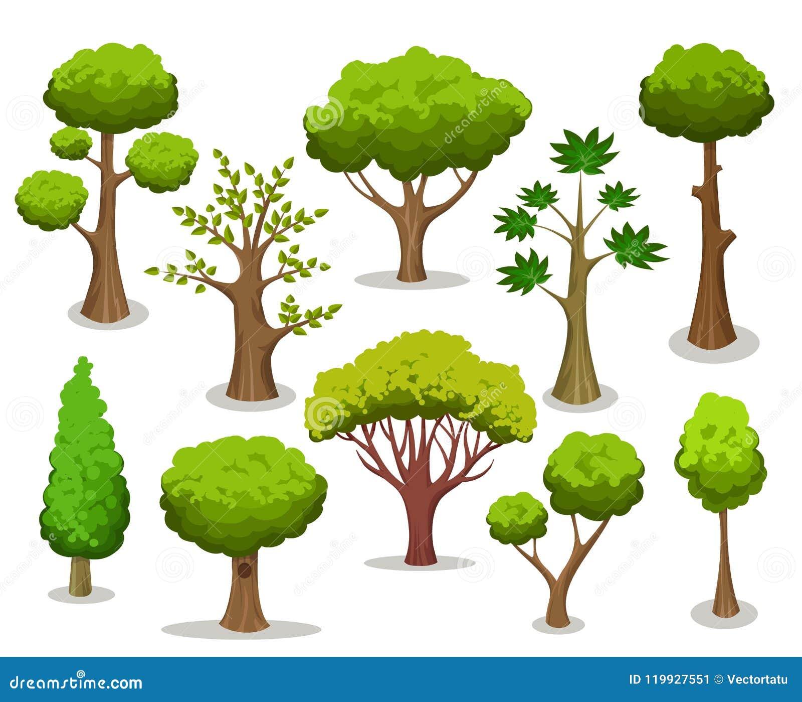 Cartoon tree collection stock vector. Illustration of ...