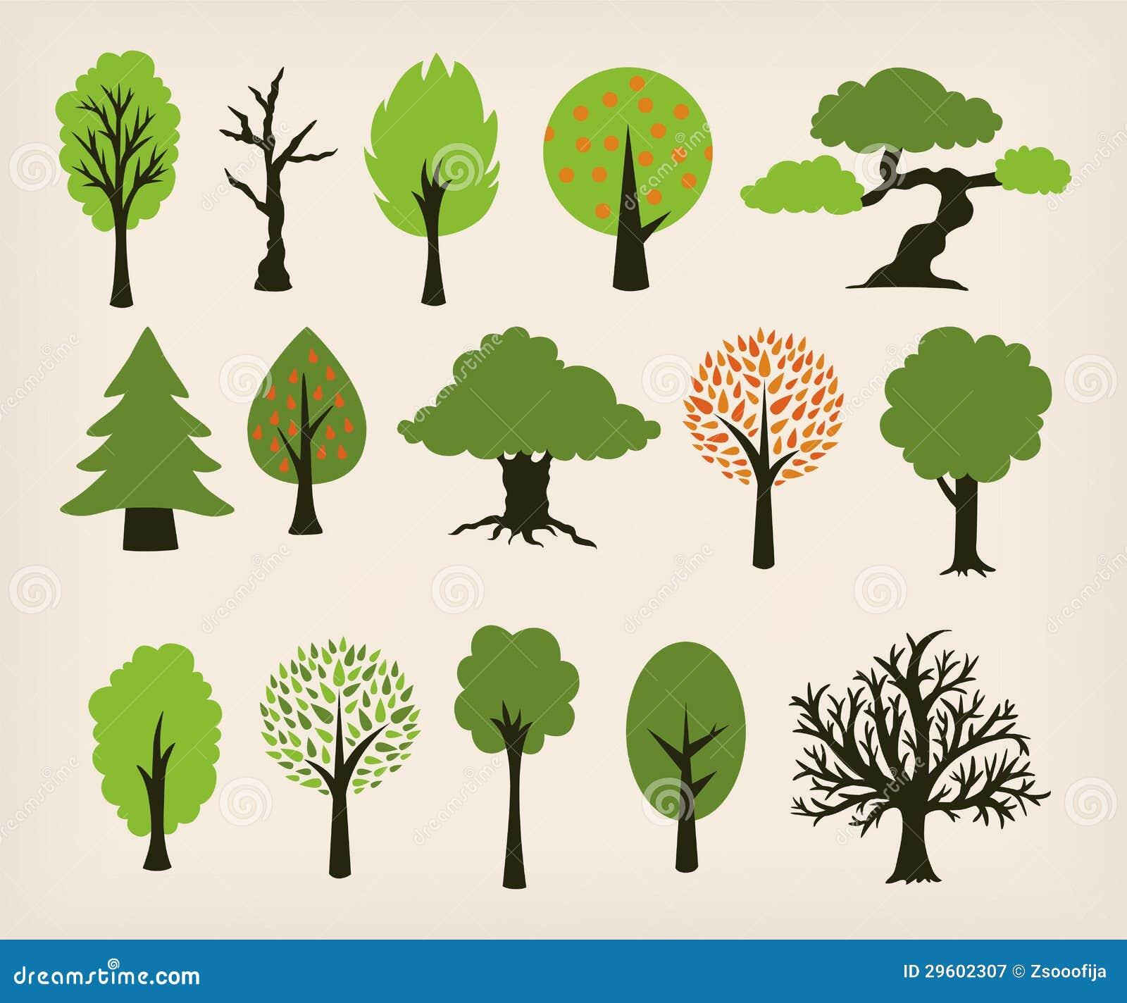Cartoon Trees Stock Vector Illustration Of Leaves Symbol 29602307 Cartoon tree animation nature christmas tree plant design environment christmas village. dreamstime com