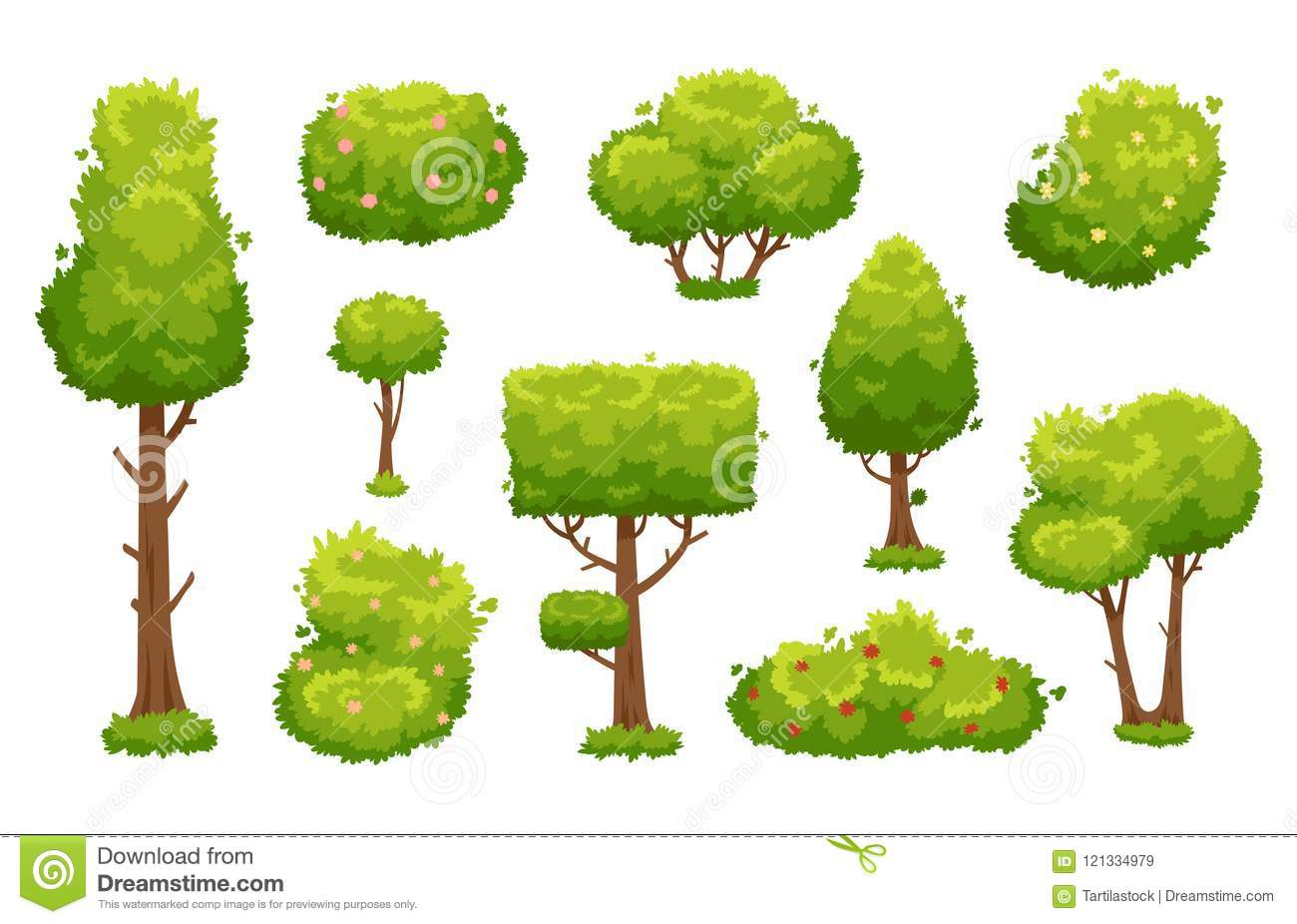 Cartoon Trees And Bushes Green Plants With Flowers For