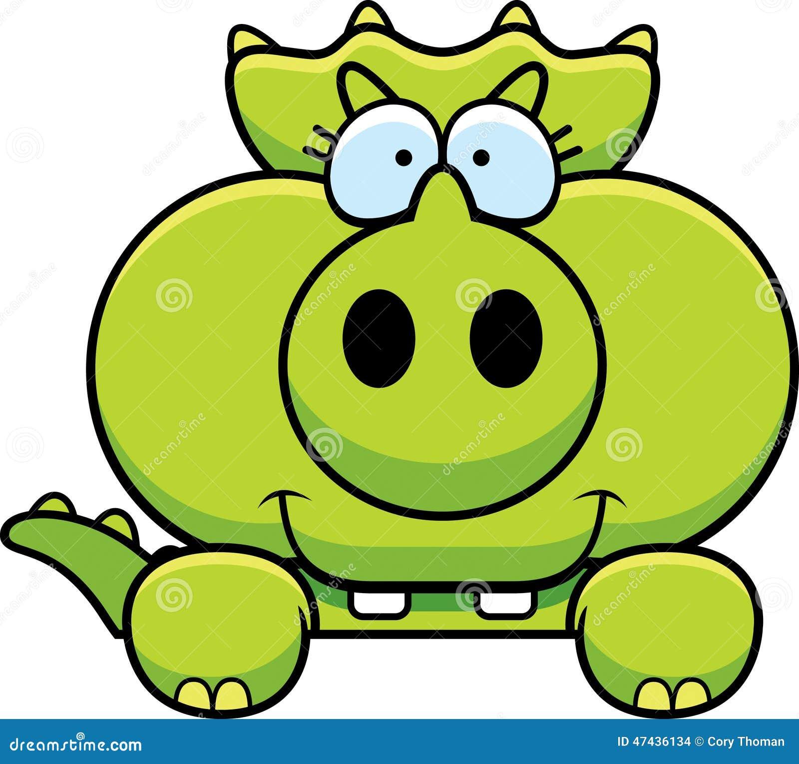Cartoon triceratops peeking stock vector image