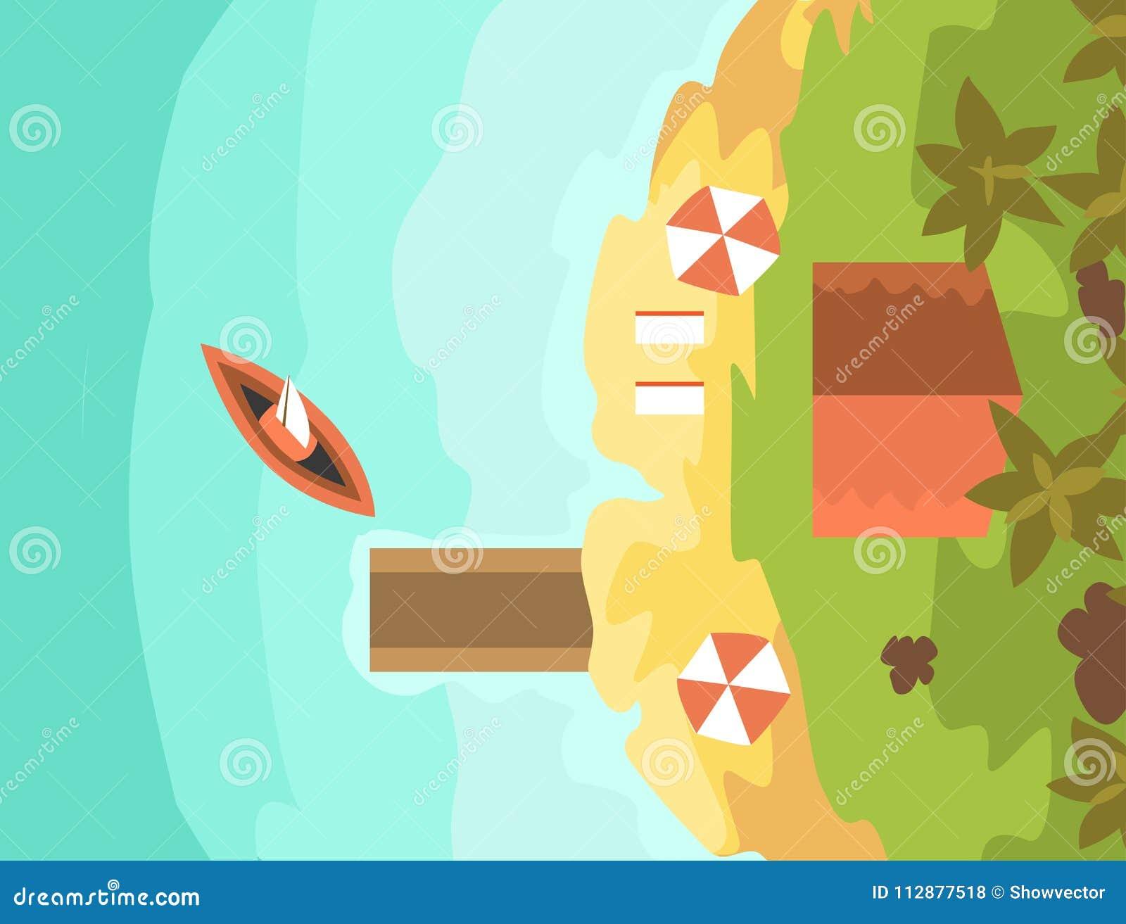 Cartoon Tropical Exotic Island In Ocean Top View Exotic Lagoon Map
