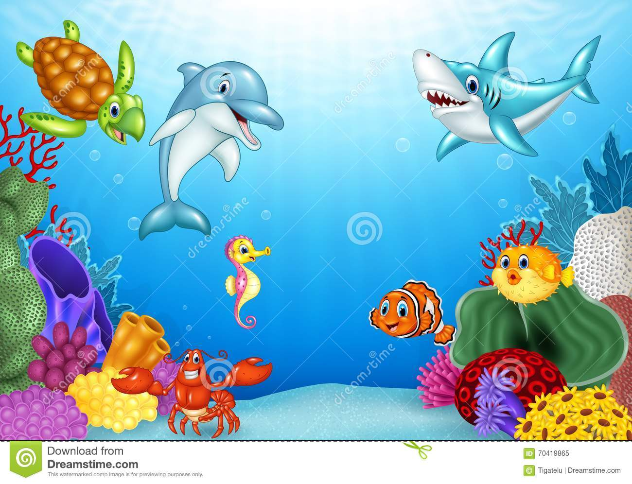 Cartoon Tropical Fish With Beautiful Underwater World ...