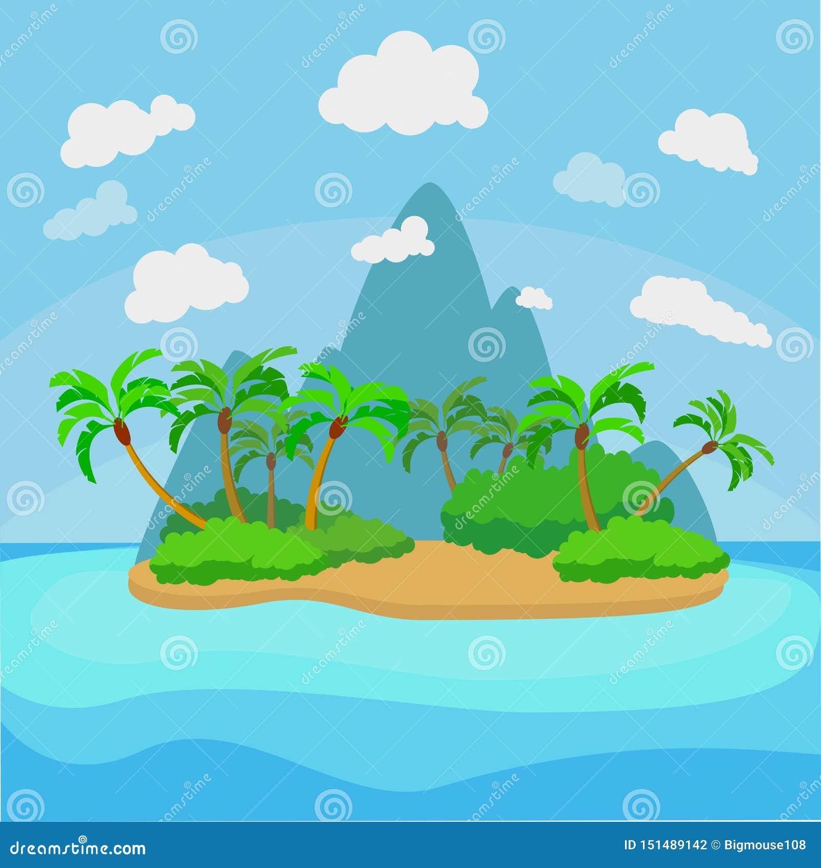 Tropical Island Paradise: Cartoon Tropical Island Landscape Background Scene. Vector