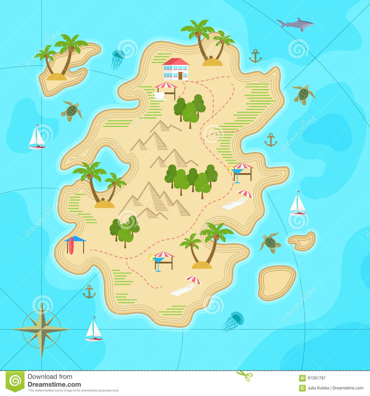 Cartoon tropical island in ocean top view exotic island map vector cartoon tropical island in ocean top view exotic island map vector game design for app gumiabroncs Images