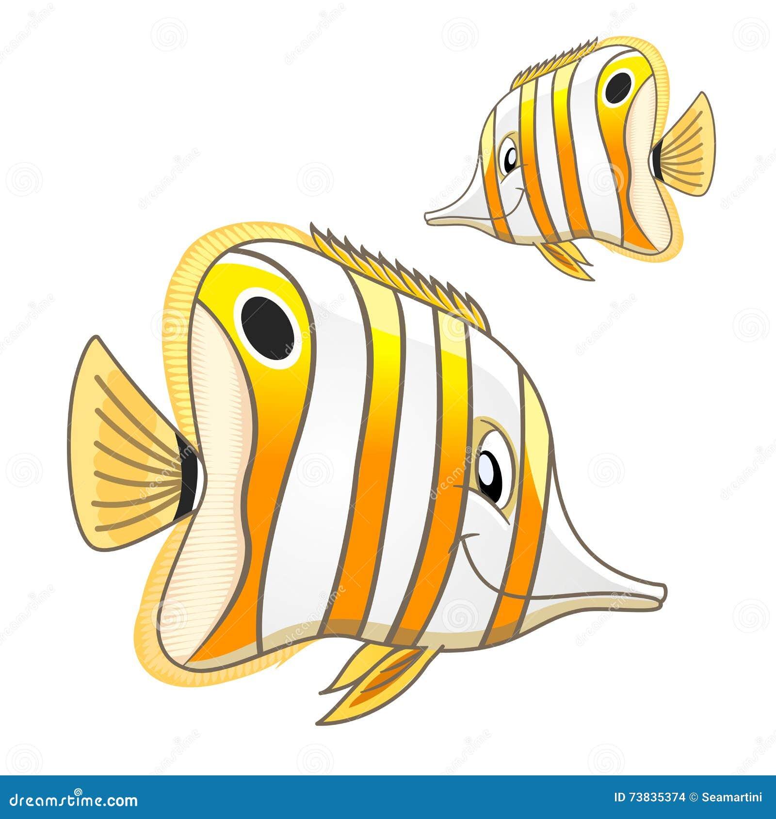 Cartoon Tropical Marine Butterflyfish Character Stock