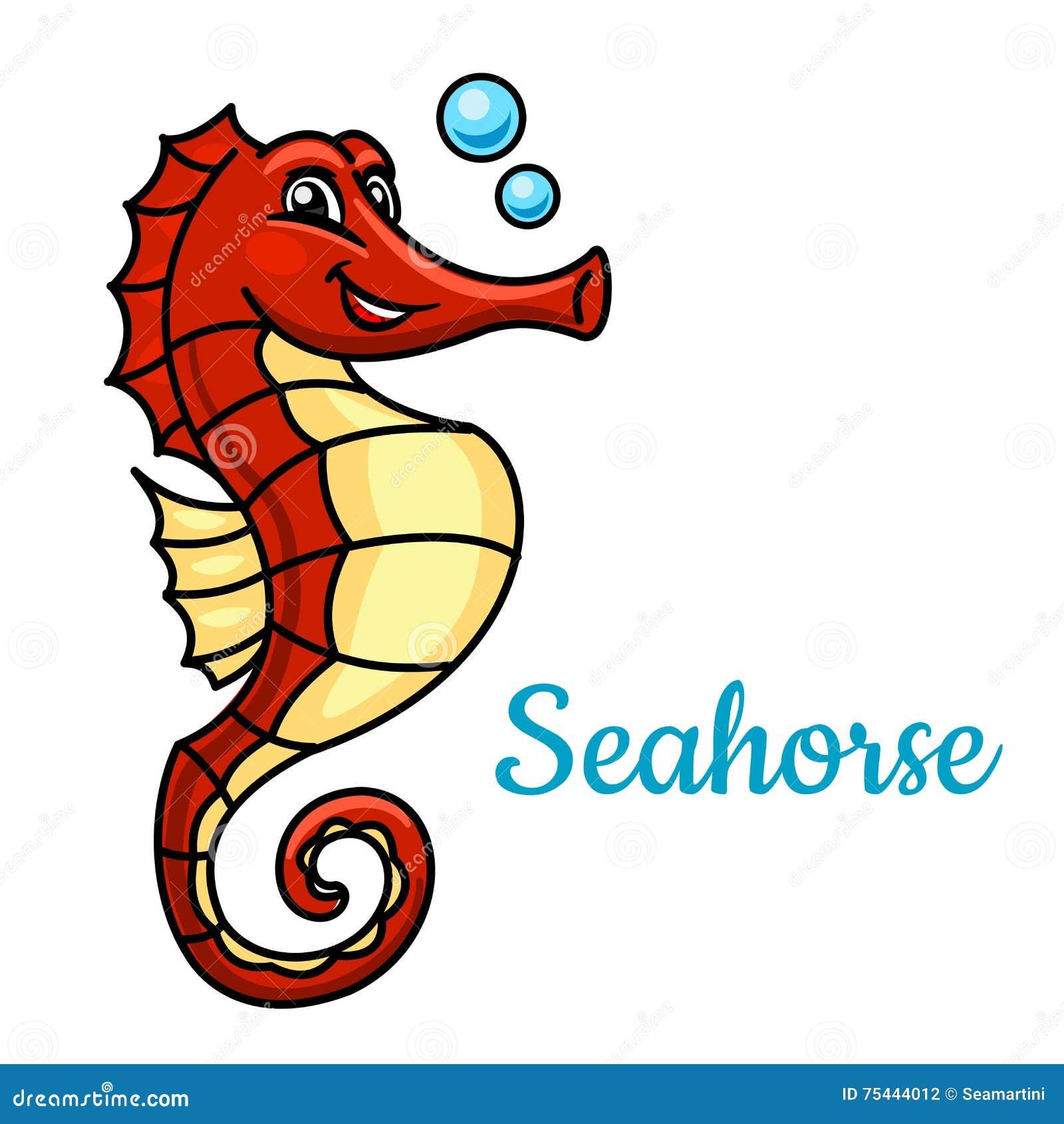 Cartoon Tropical Marine Seahorse Fish Character Stock