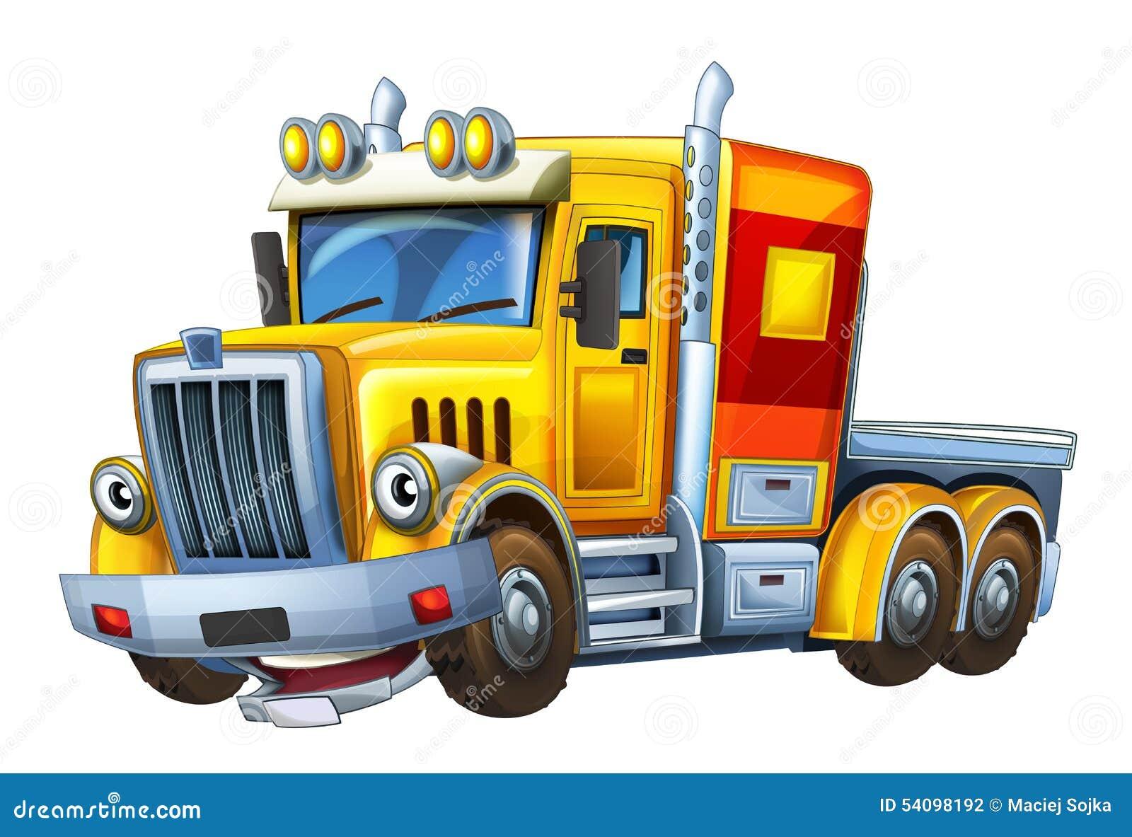 Cartoon Truck Caricature Illustration For The Children