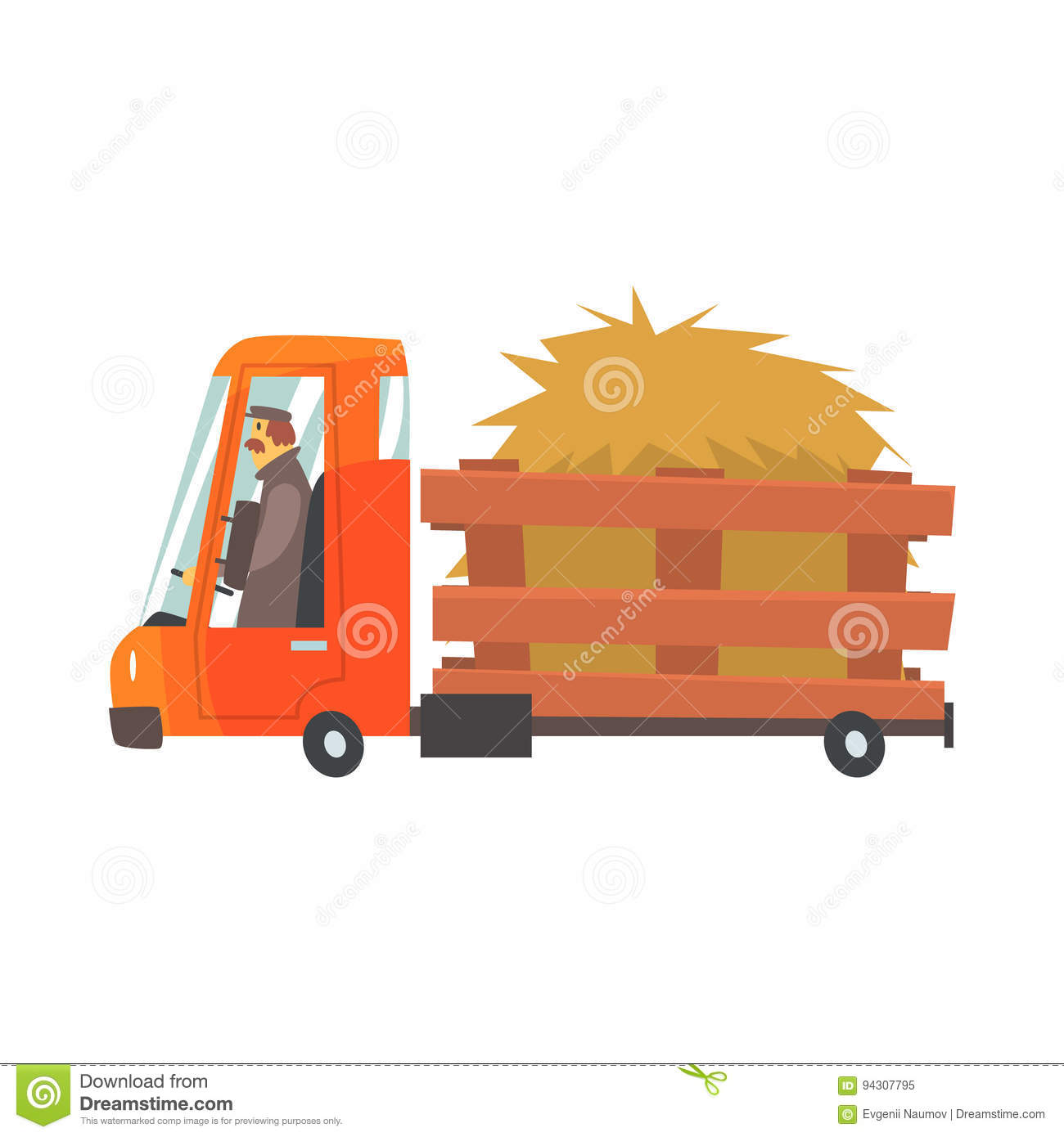 Hay Farmer Tractor Cartoon : Cartoon truckload of hay farmer truck vector illustration