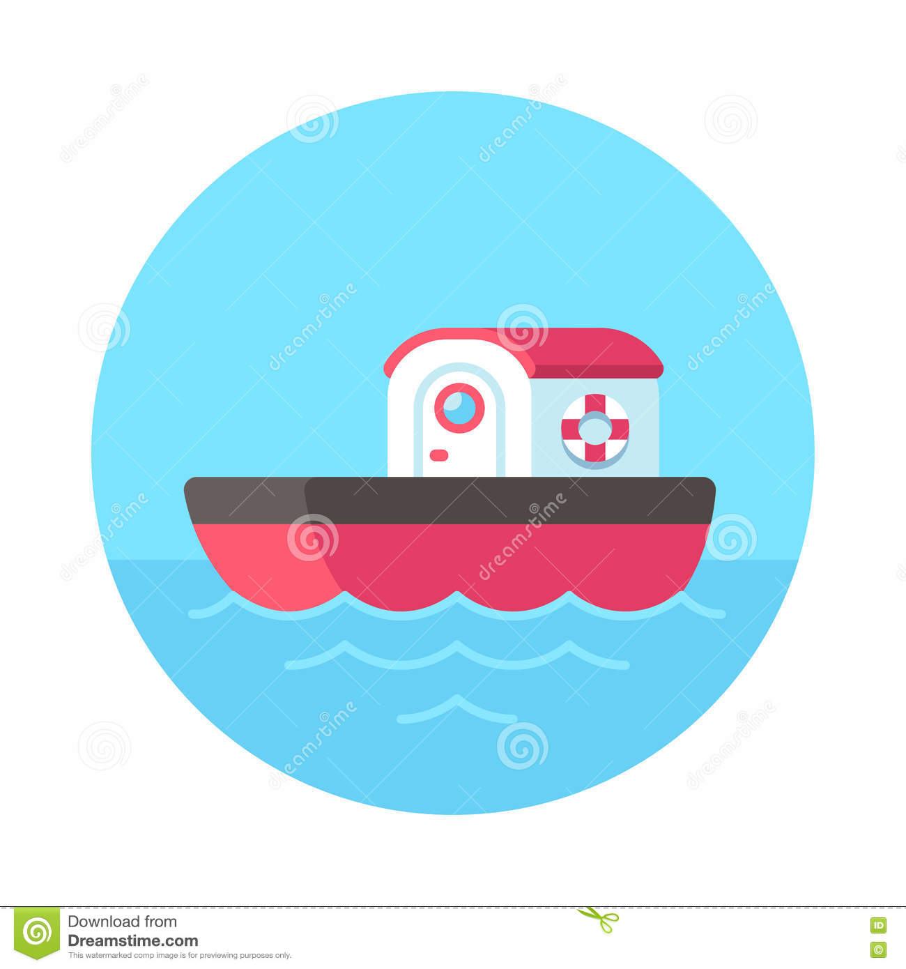 Cartoon Tugboat Illustration Stock Vector - Image: 77739696
