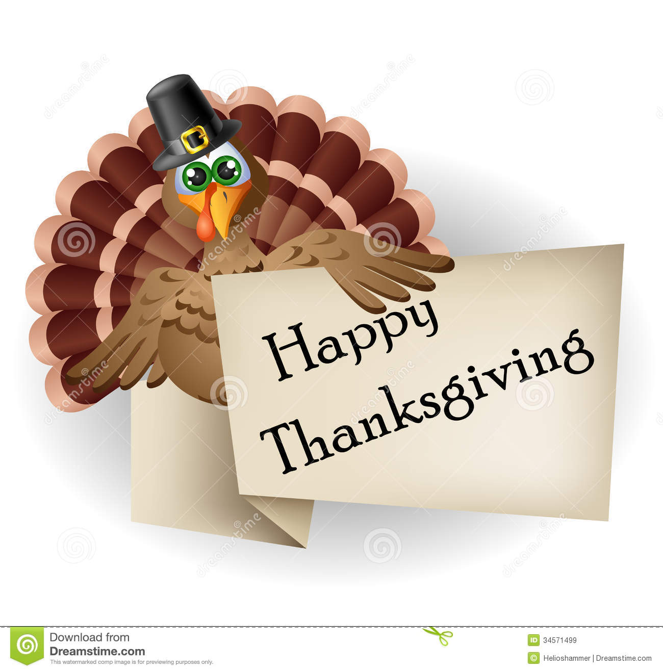 cartoon turkey with thanksgiving label royalty free stock images