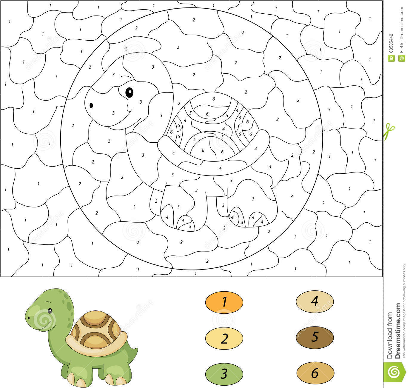 cartoon turtle color by number educational game for kids stock