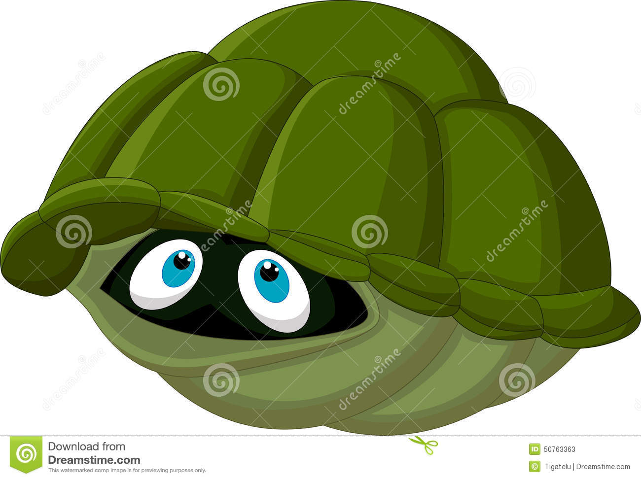 Cartoon Turtle Hides In Its Shell Stock Vector Image