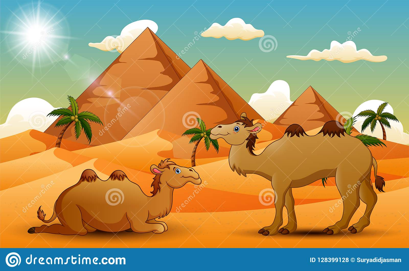 Cartoon Of Two Camel In The Desert Stock Vector