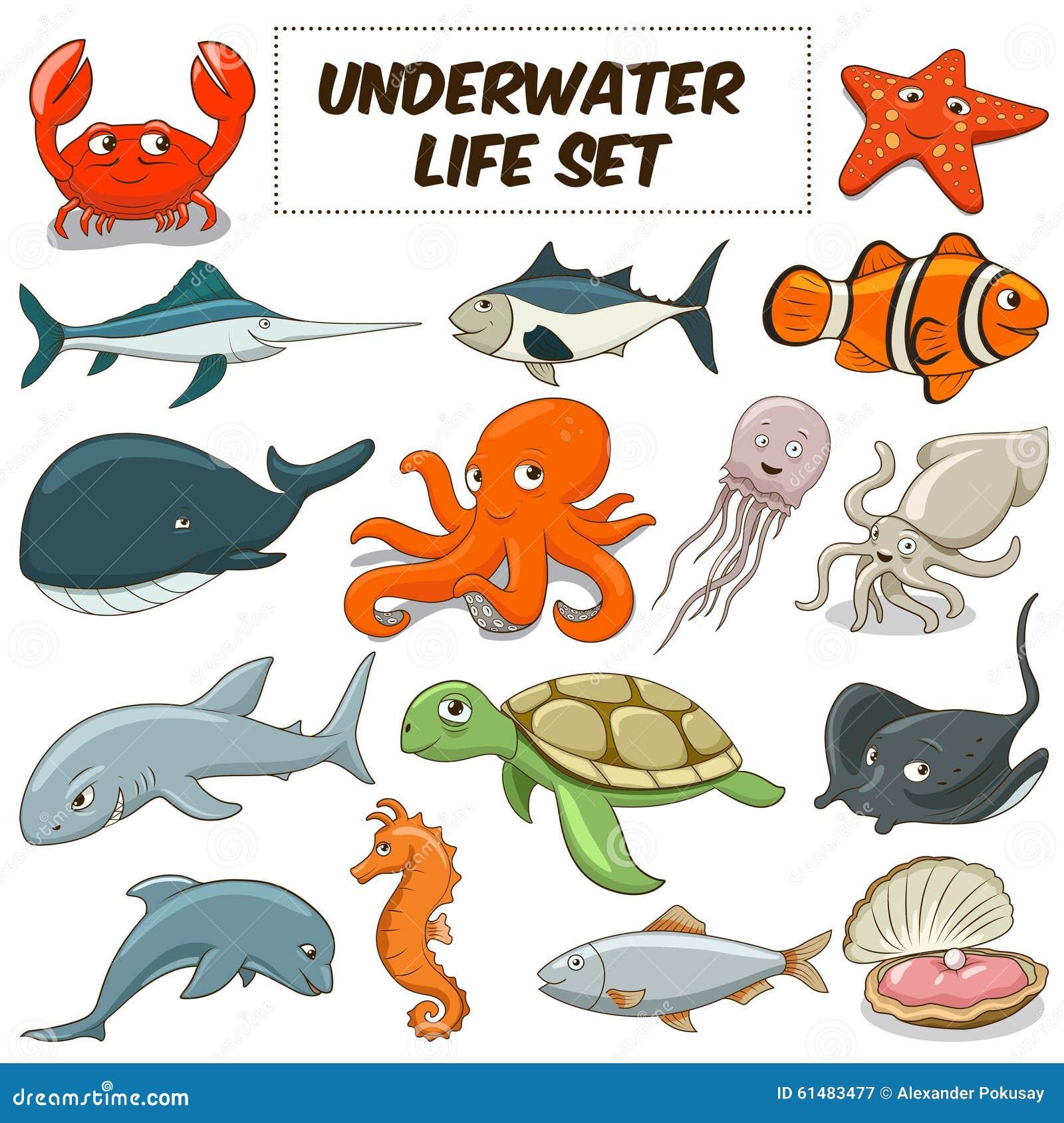 cartoon underwater animals set vector stock vector