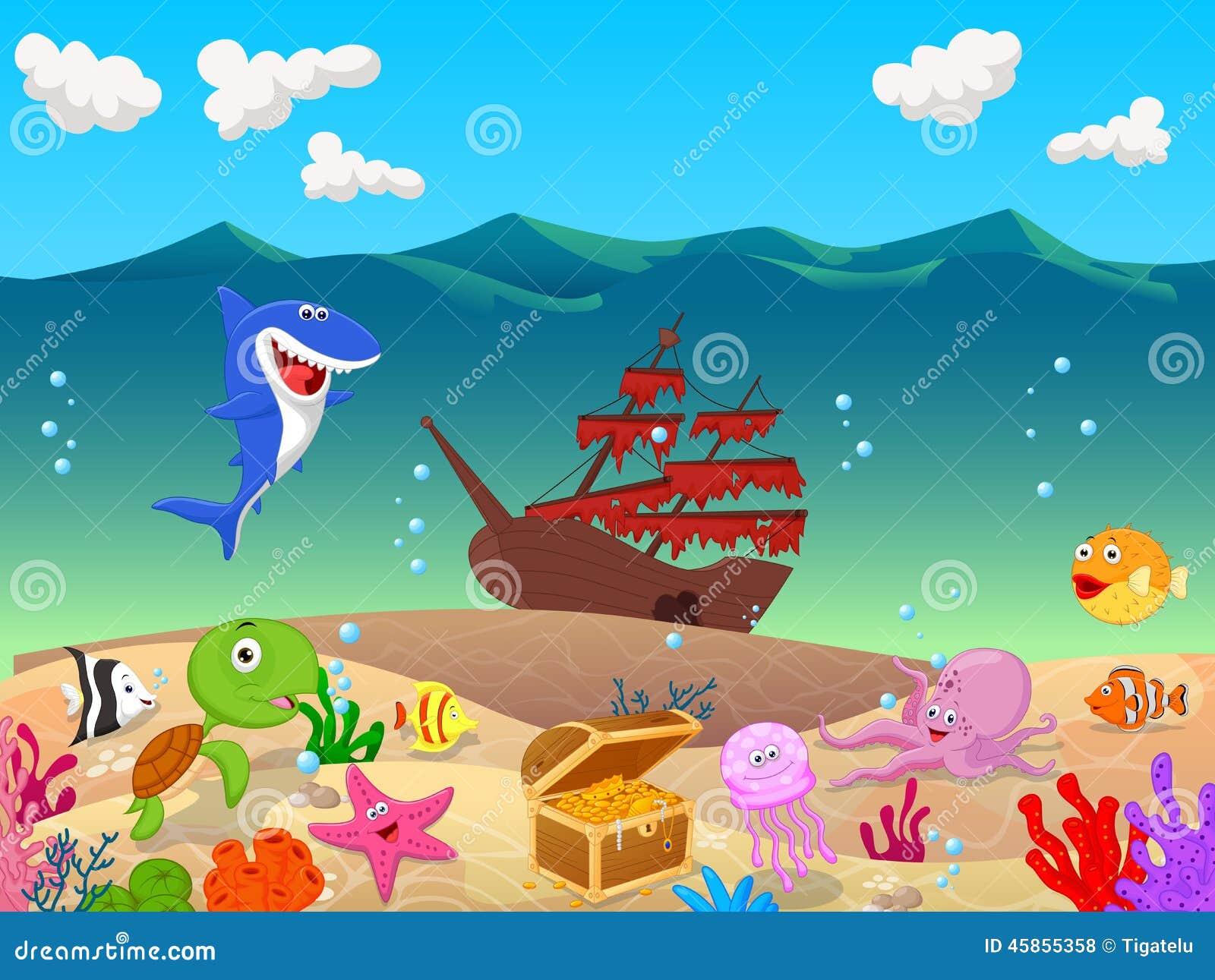 Cartoon underwater background with old ship stock vector image 45855358 - Fotos fondo del mar ...