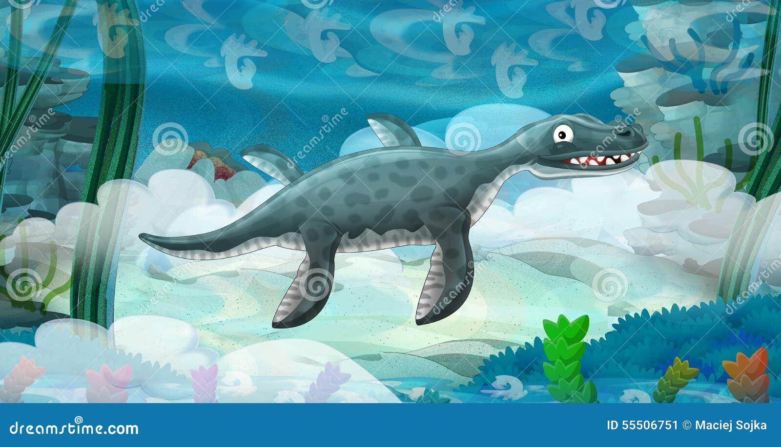 Cartoon Underwater Dinosaur Stock Illustration - Image ...