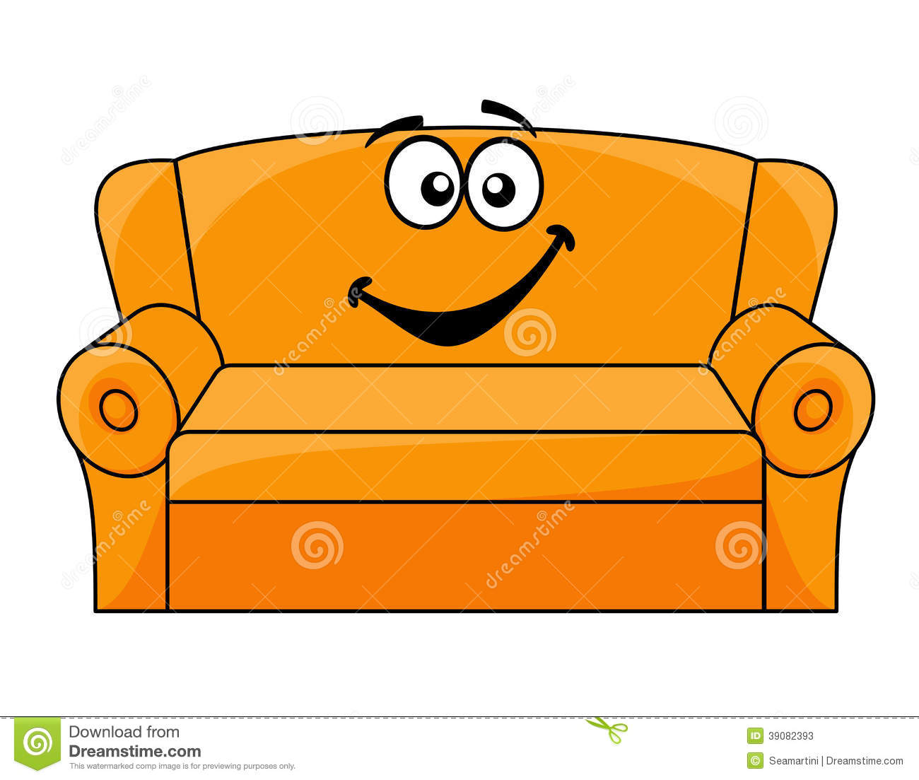 Cartoon Upholstered Couch Stock Vector. Illustration Of