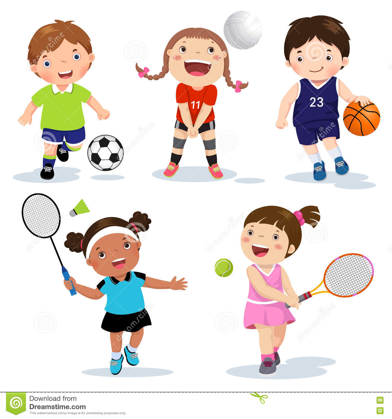 Sports: Cartoon Various Sports Kids On A White Background Vector